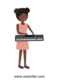 young woman with piano keyboard character