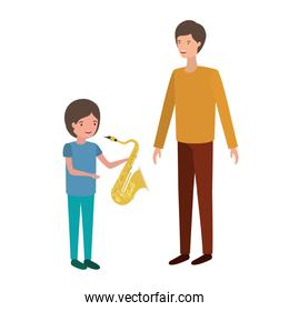 man with son and saxophone character