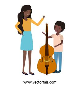 woman with son and violin avatar character