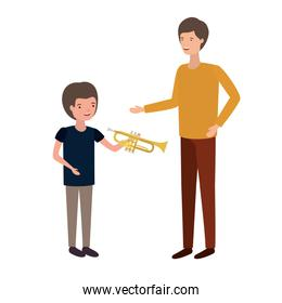 man with son and trumpet avatar character
