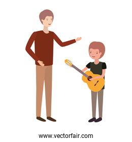 man with son and guitar avatar character