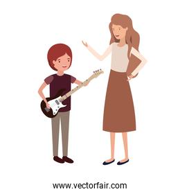 woman with kid and electric guitar avatar character