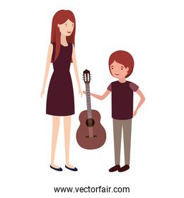 woman with son and guitar avatar character