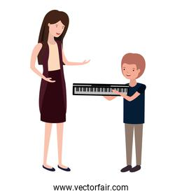 woman with son and piano keyboard avatar character