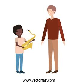 man with son and saxophone avatar character
