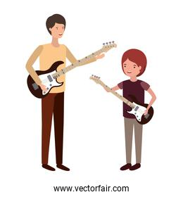 man with son and electric guitar avatar character