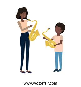 woman with son and saxophone avatar character