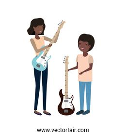 woman with son and electric guitar avatar character