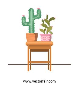 cactus with potted on the table icon