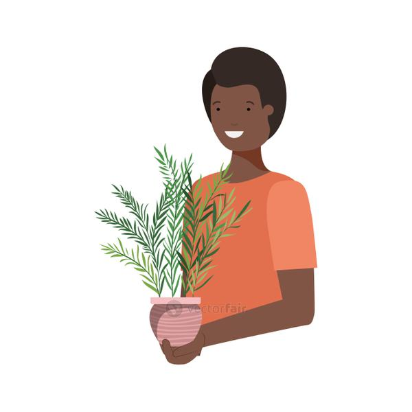 man with houseplant avatar character