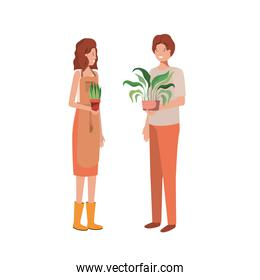 young couple with houseplant avatar character