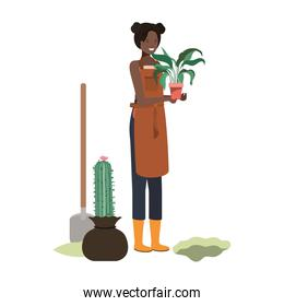 woman with tree to plant avatar character