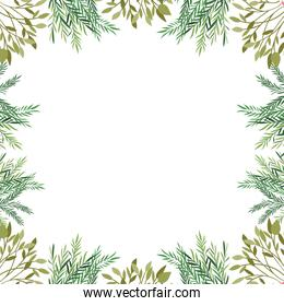 pattern with branches and leaf icon