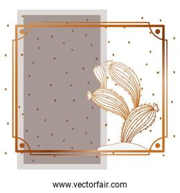 pattern cactus with frame golden isolated icon