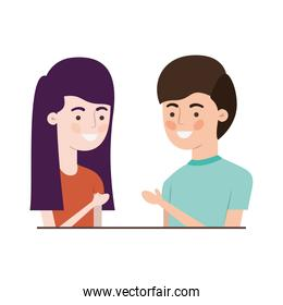 young smiling couple illustration