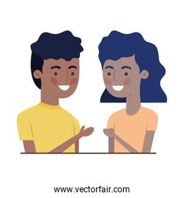 isolated young couple character vector
