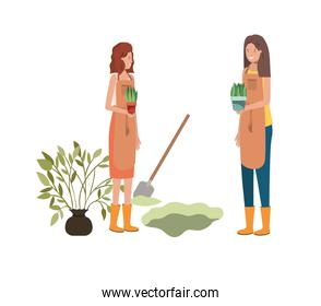 women with trees to plant avatar character