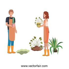 couple with trees to plant avatar character