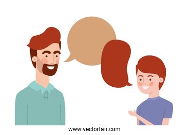 father with son and speech bubble character
