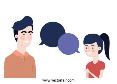 father with daughter and speech bubble character