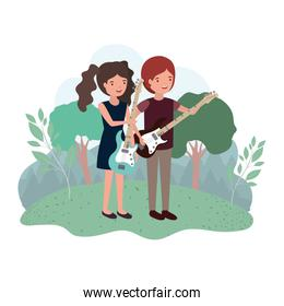 couple with musical instruments in landscape