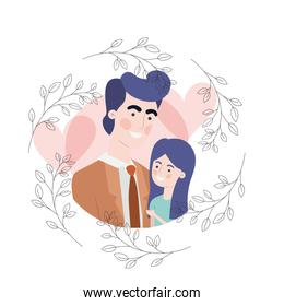 father with daughter avatar character