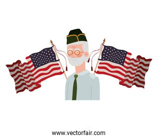 veteran war old man with flag of united states background