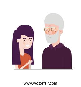 girl and grandfather avatar character
