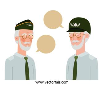 war veterans with speech bubble character