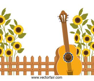 guitar with sunflowers isolated icon
