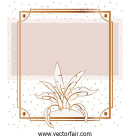pattern plant with frame golden isolated icon