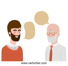 father with son and speech bubble