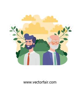 father with son in landscape and foliage character