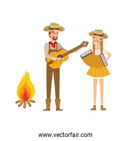 farmers couple with musical instruments and bonfire