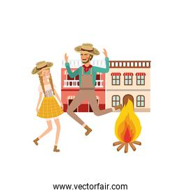 couple farmers dancing with background houses