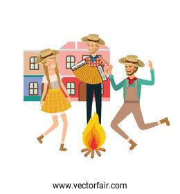 group of people farmers dancing with background houses