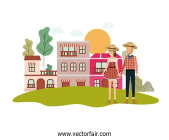 farmers couple talking with background houses