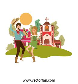 farmers couple dancing with background houses