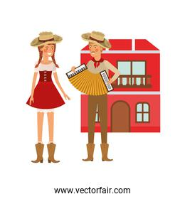 farmers couple with musical instrument