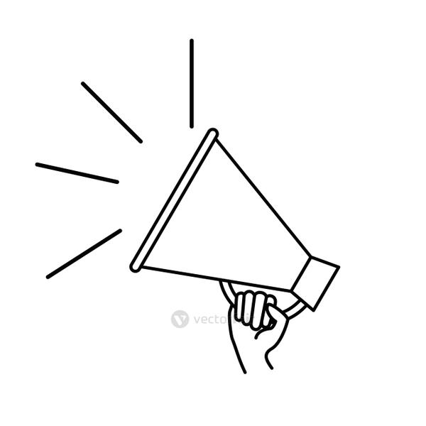 silhouette of hand with megaphone in white background