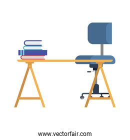 office desk with chair in white background