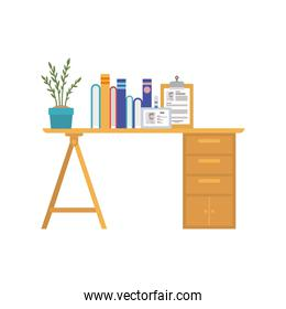 office desk with white background