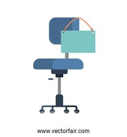 chair with poster hanging icon