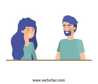 isolated young  couple illustration