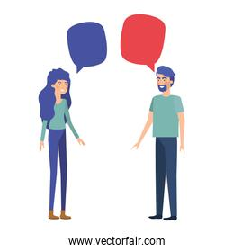 couple with speech bubble avatar character