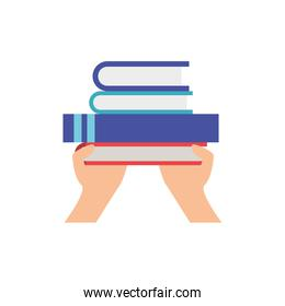 hands with library books in white background icon
