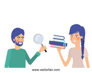 couple couple with office objects in white background