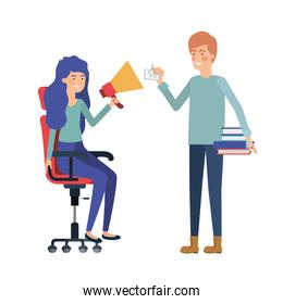 couple with sitting in office chair avatar character
