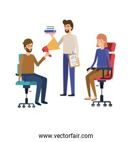 group of people with sitting in office chair