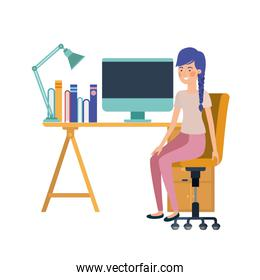 woman sitting in the work office with white background